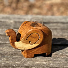 Wood Elephant Bud Vase/Toothpick Holder - Sugar Palm Wood