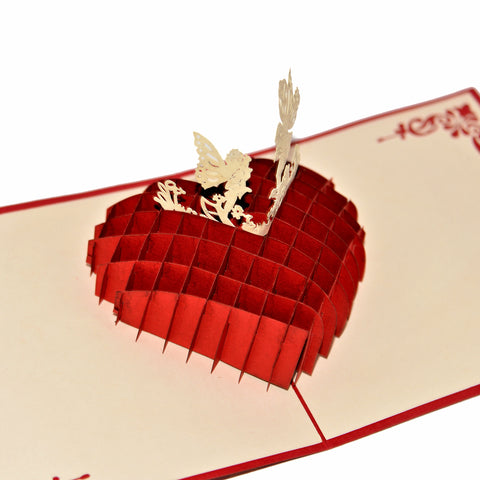 Vietnamese Hand-made Pop-up Card - Love You Heart