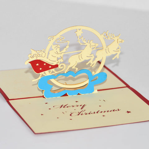 Santa in Sleigh with Reindeer - Vietnamese Hand-made Pop-up Card