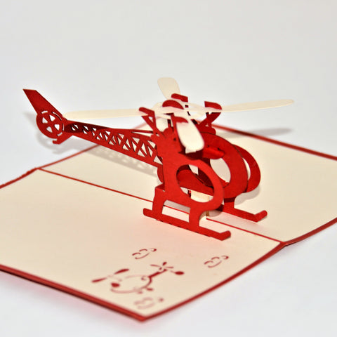 Vietnamese Hand-made Pop-up Card - Helecopter