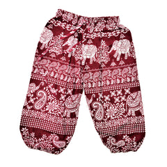 Childrens Elephant Print Pants - Maroon with White Elephants