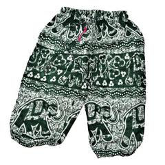 Childrens Elephant Print Pants - Green & White