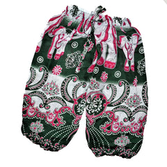 Childrens Elephant Print Pants - Green & White with Mauve Elephants
