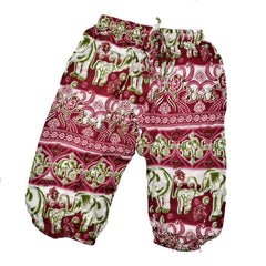 Childrens Elephant Print Pants - Maroon and Green