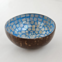Oyster Shell Lacquered Coconut Bowl - Light Blue Flower
