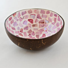 Oyster Shell Lacquered Coconut Bowl - Pink & Cream