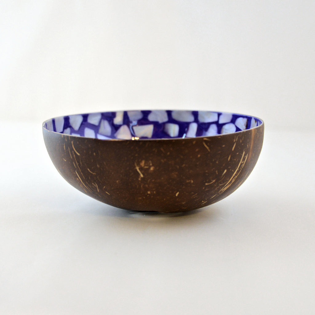 Oyster Shell Lacquered Coconut Bowl - Purple