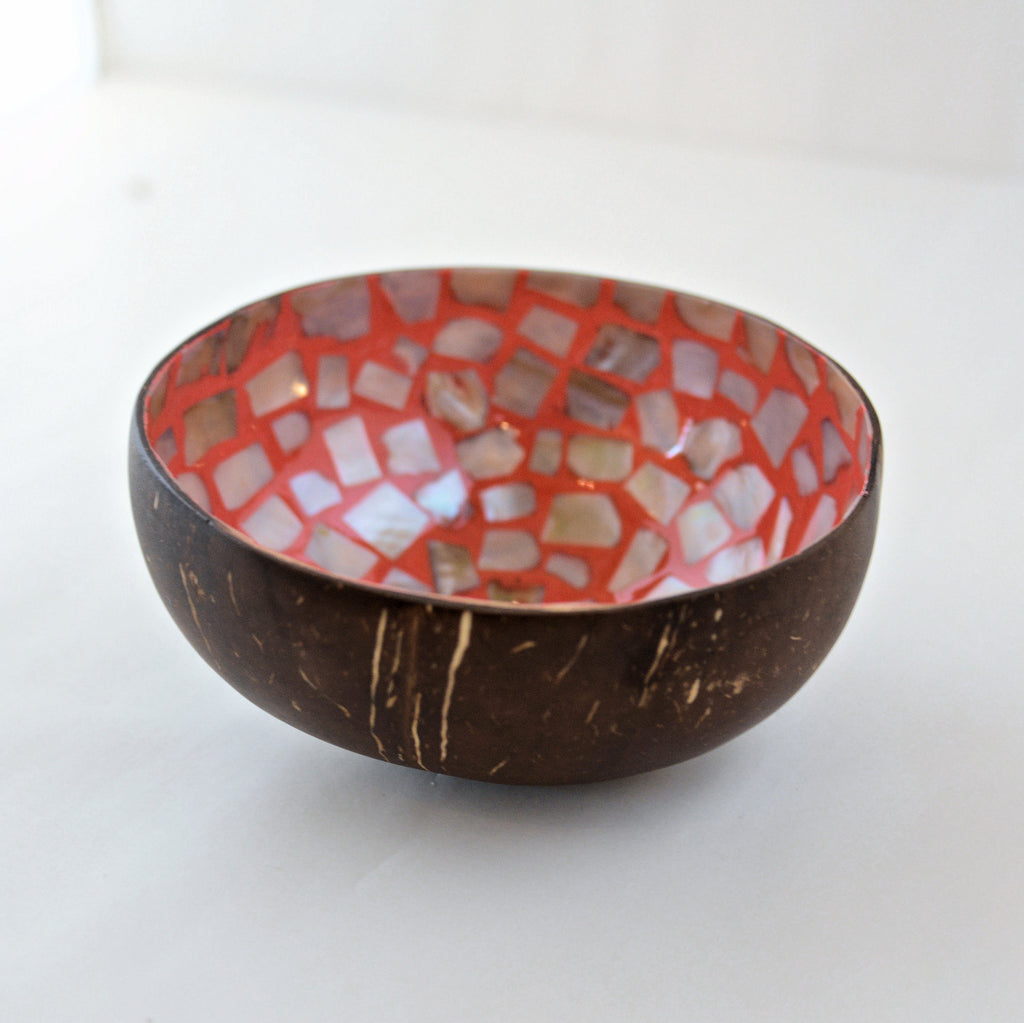 Oyster Shell Lacquered Coconut Bowl - Light Orange