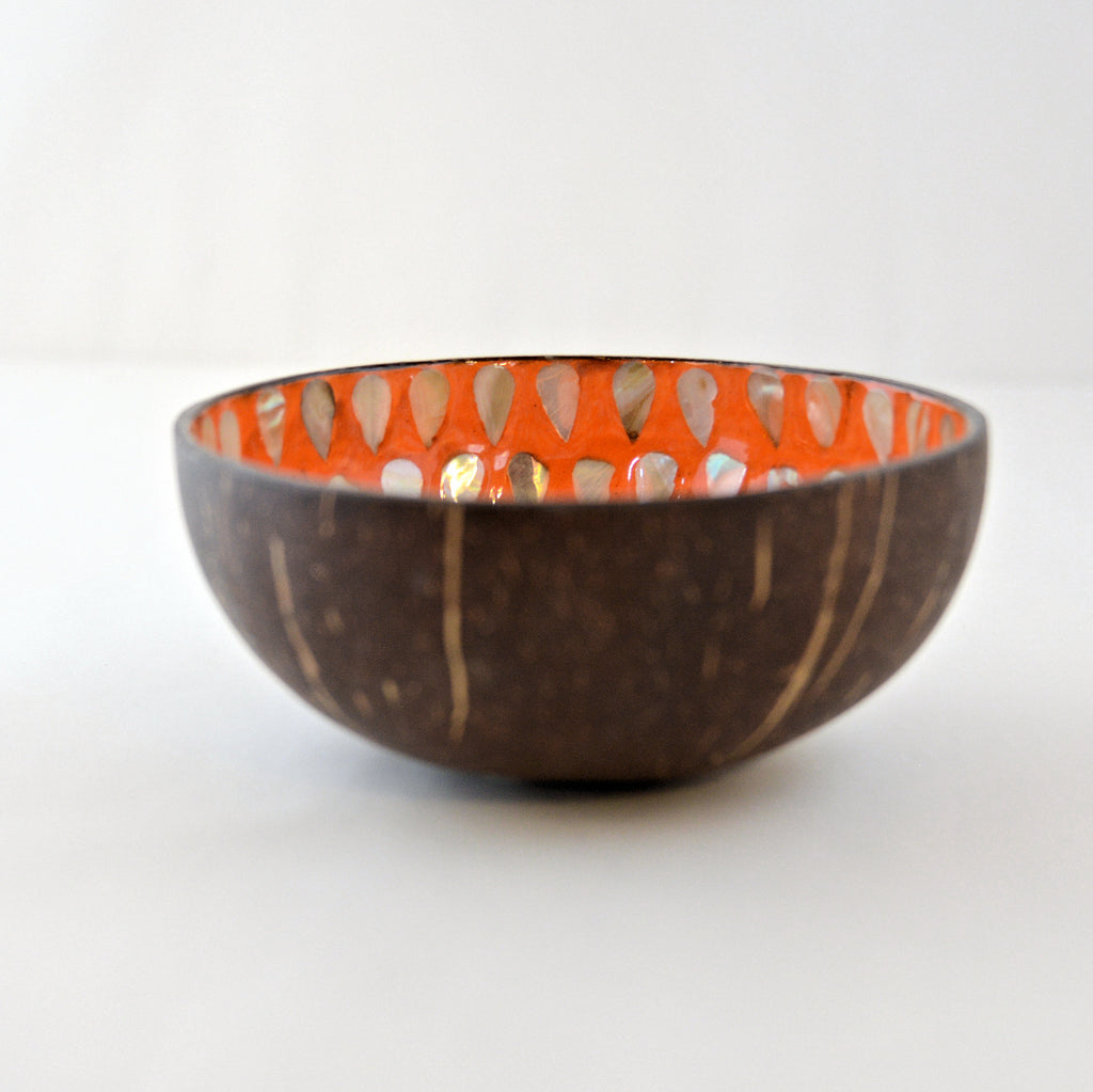 Oyster Shell Lacquered Coconut Bowl - Orange