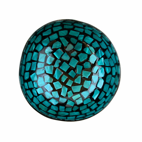 Oyster Shell Lacquered Coconut Bowl - Aqua