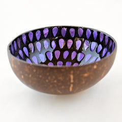 Oyster Shell Lacquered Coconut Bowl - Purple Teardrop