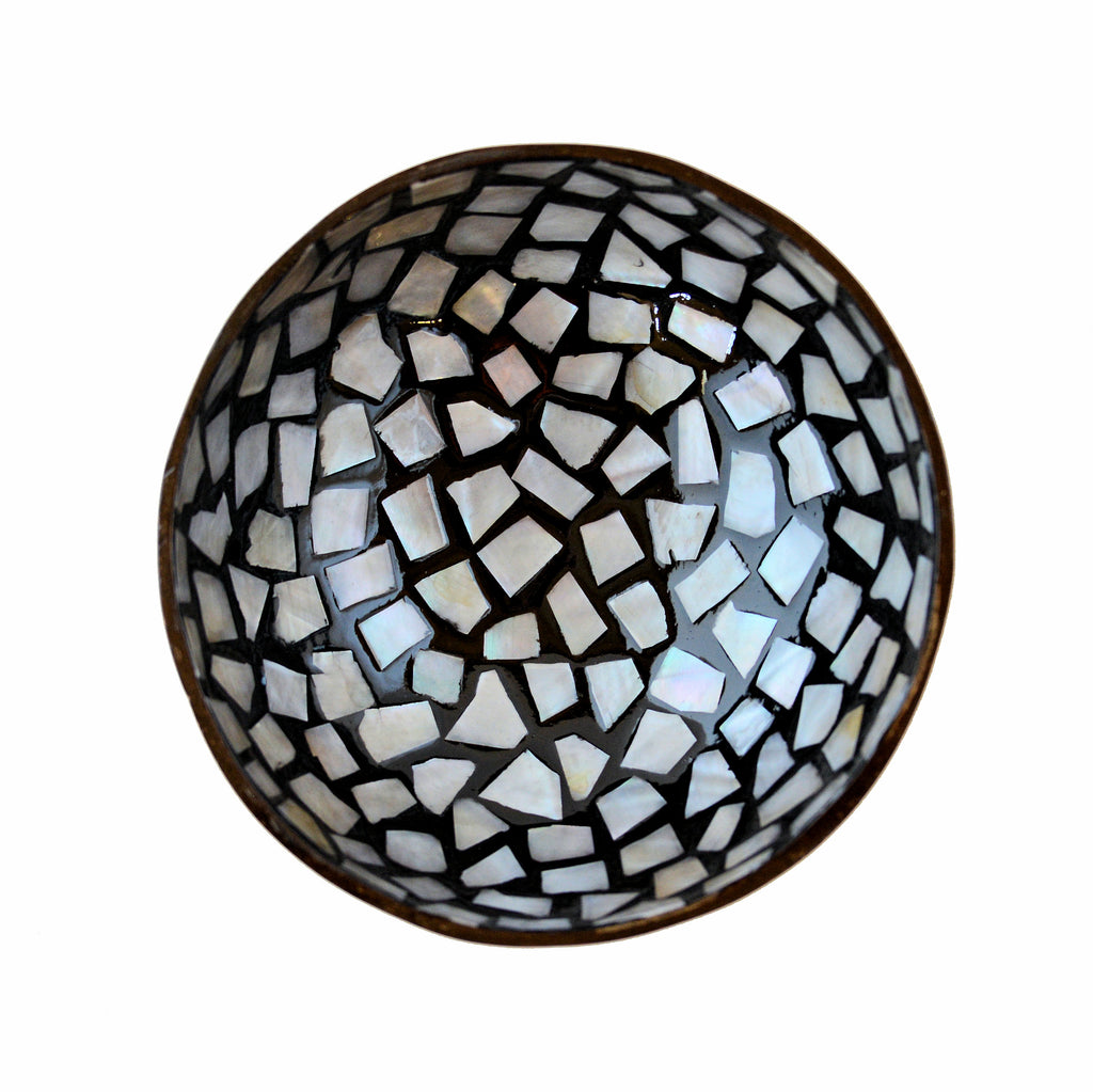 Oyster Shell Lacquered Coconut Bowl - Black & White