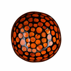 Oyster Shell Lacquered Coconut Bowl - Orange Circles