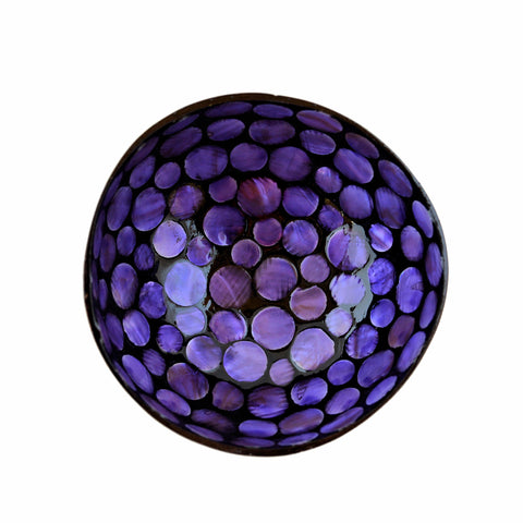 Oyster Shell Lacquered Coconut Bowl - Purple Circles