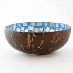 Oyster Shell Lacquered Coconut Bowl - Light Blue