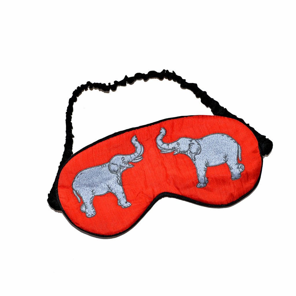Silk Elephant Sleeping Mask - Red