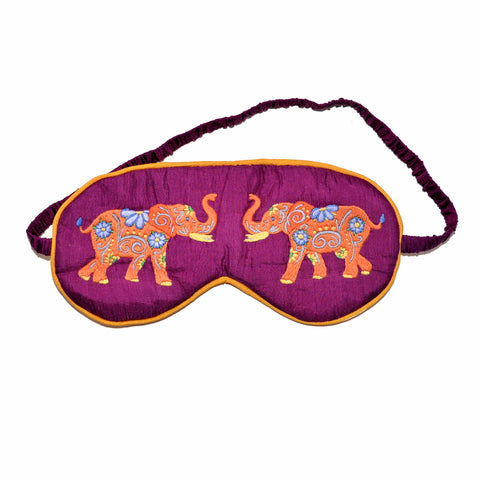 Silk Elephant Sleeping Mask - Plum