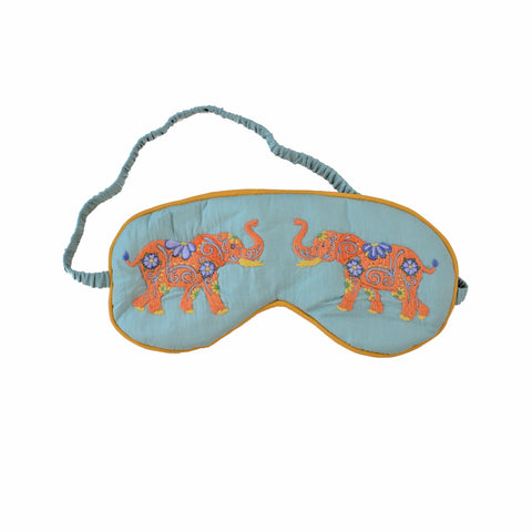 Silk Elephant Sleeping Mask - Light Blue