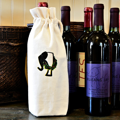 The Elephant Story Christmas Logo Wine Bag