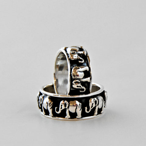 Oxidized Silver Band of Elephants Ring