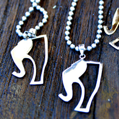 Sterling Silver Elephant Story Logo Charm with Steel Bead Necklace