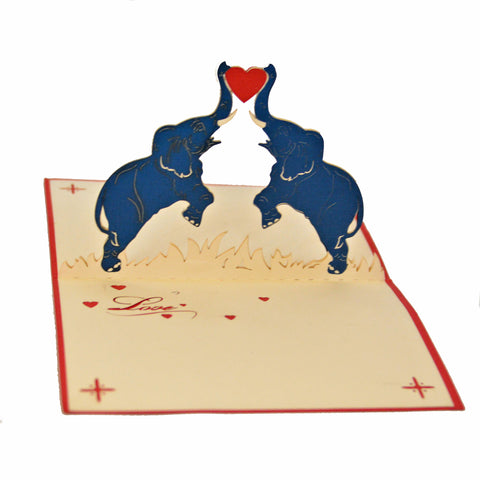 Vietnamese Hand-made Pop-up Card - Elephant Love