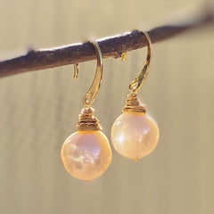 Pearl and Gold Wire Wrap Earrings