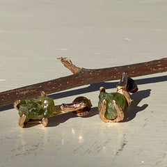 Rough Stone Stud Earring - Green