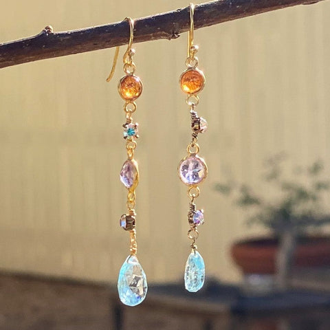 Mixed Gem Dangle Earrings