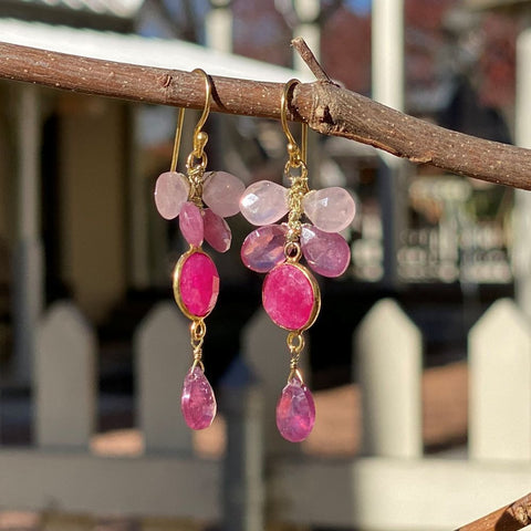Mixed Gem Dangle Earrings - Rose