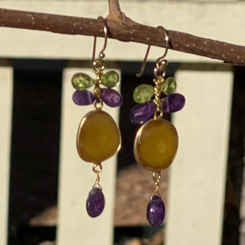 Mixed Gem Dangle Earrings - Amber and Purple