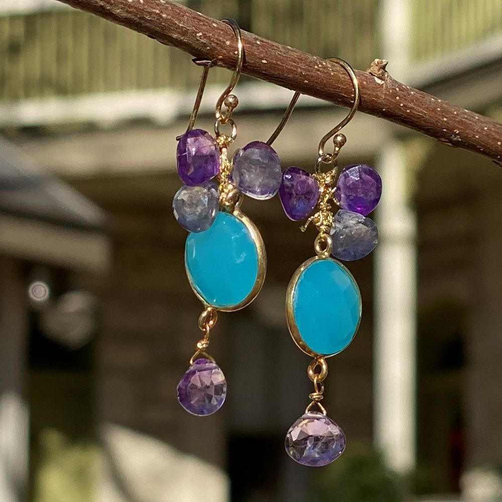 Mixed Gem Dangle Earrings - Blue and Purple