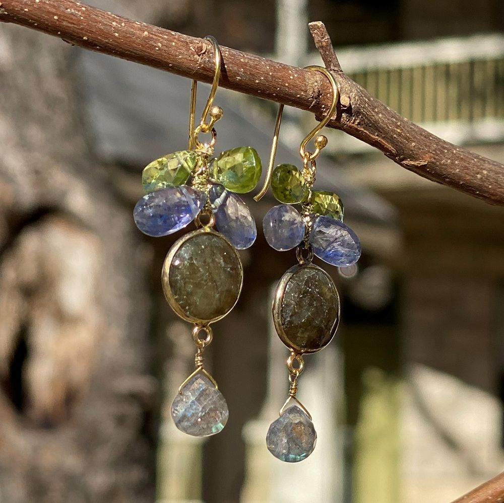 Mixed Gem Dangle Earrings - Green