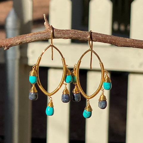 Turquoise and Lapis Oval Earrings