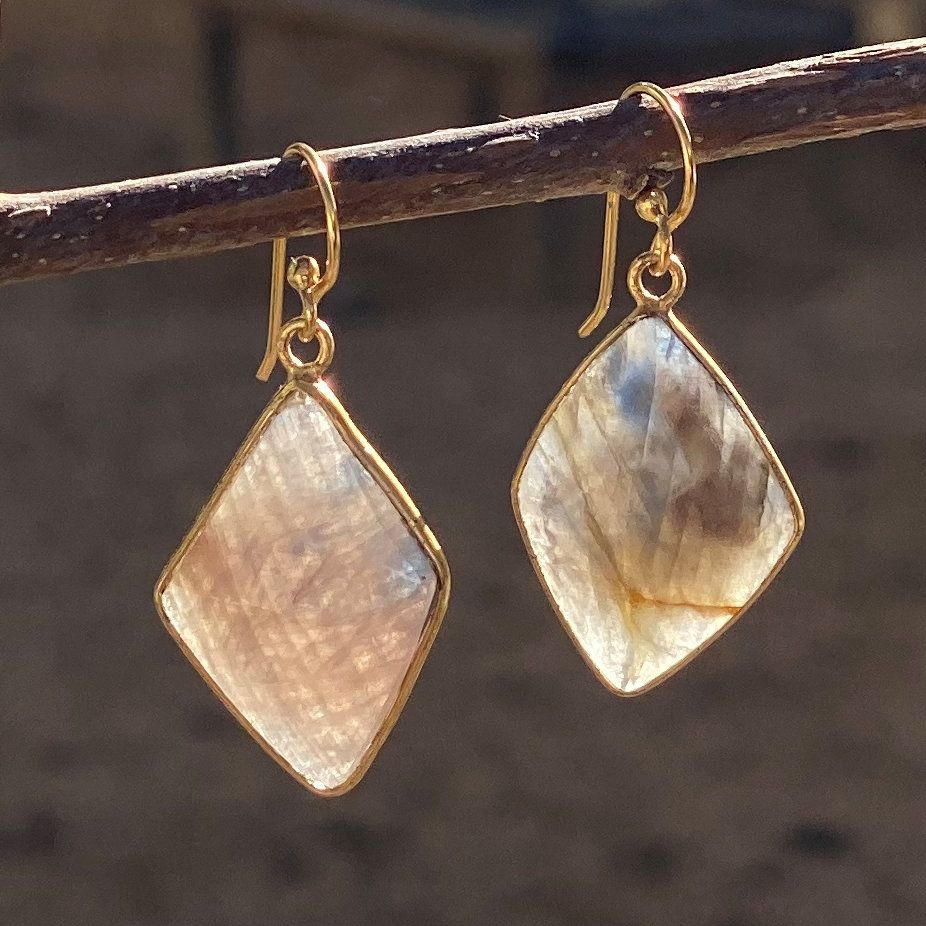 Diamond Shape Cut Gemstone Earrings