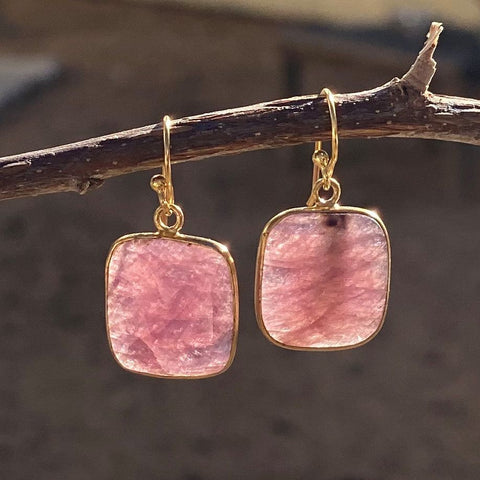 Square Shape Cut Gemstone Earrings