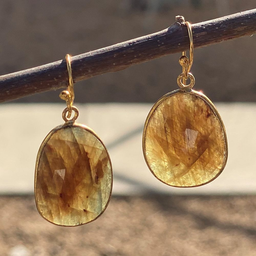 Drop Shape Cut Gemstone Earrings
