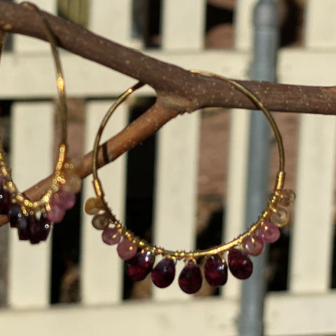 Gemstone Hoop Earrings 1.5""