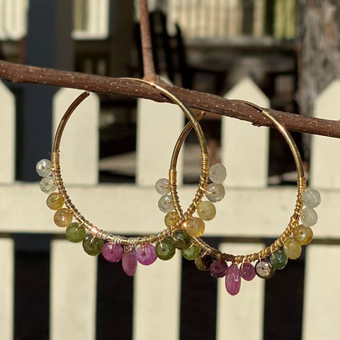 Gemstone Hoop Earrings 2""