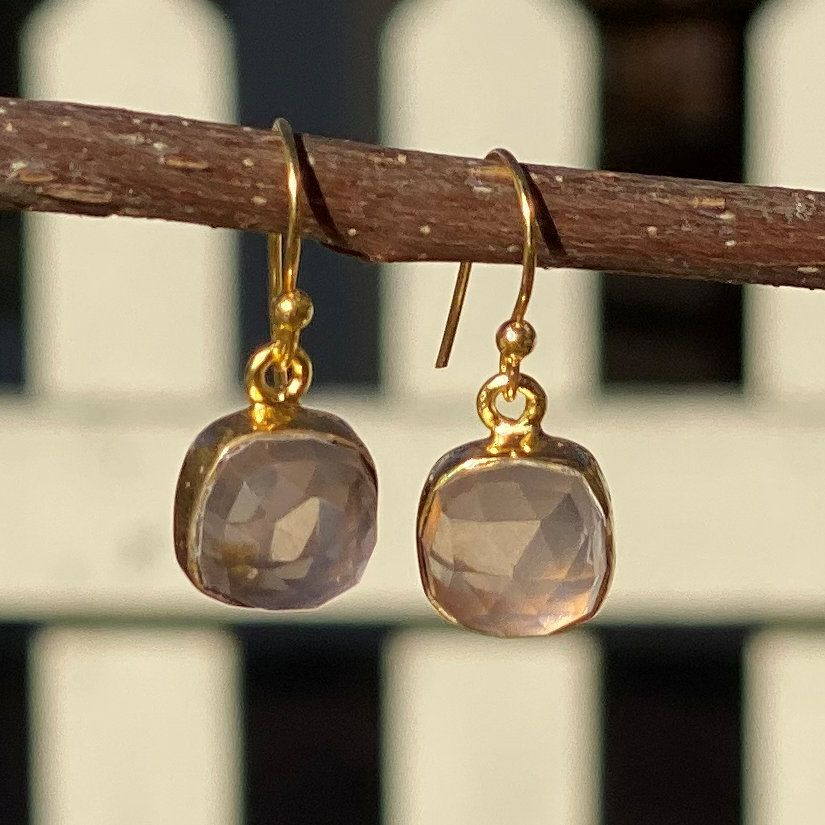 Square Rose Gemstone Earrings