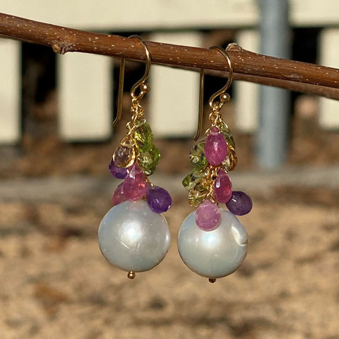Pearl and Mixed Gem Dangle Earrings
