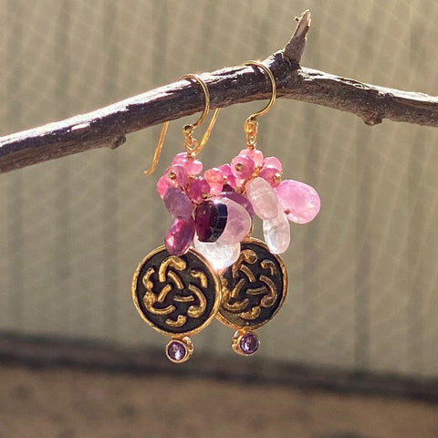 Mixed Gems and Emblem Dangle Earrings