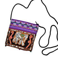 Mini Sling Bag with Sequin Elephant - Square (Purple and Black)