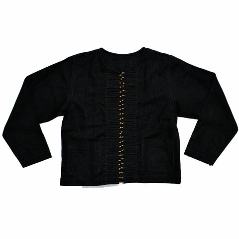 Black Hemp Short Jacket with Silver Buttons