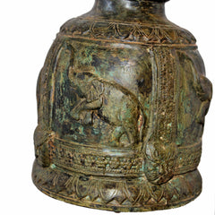 Extra Large Elephant Temple Bell on Wood Stand (Happy Elephant)