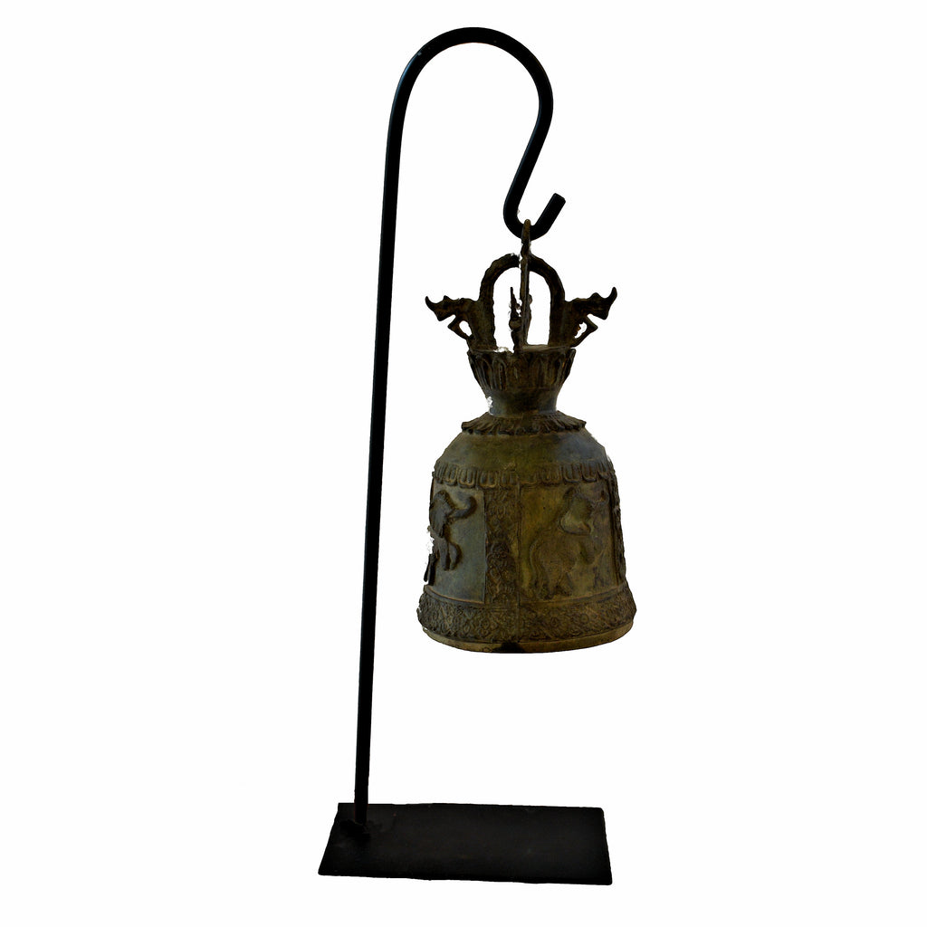 Elephant Temple Bell on Metal Stand (Happy Elephant)