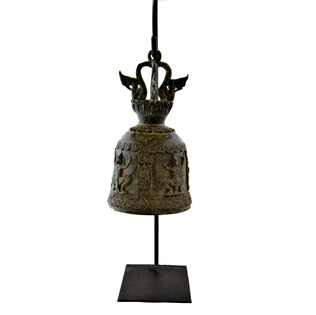 Temple Bell on Metal Stand (Garuda Buddhist God)