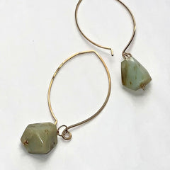 Large Hoop Green Gemstone Earrings