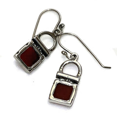 Silver with Burgundy Gemstone Earrings