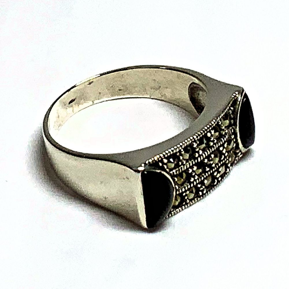 Onyx and Rhinestone Silver Ring